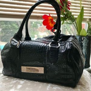 Guess patent leather look croc embossed satchel